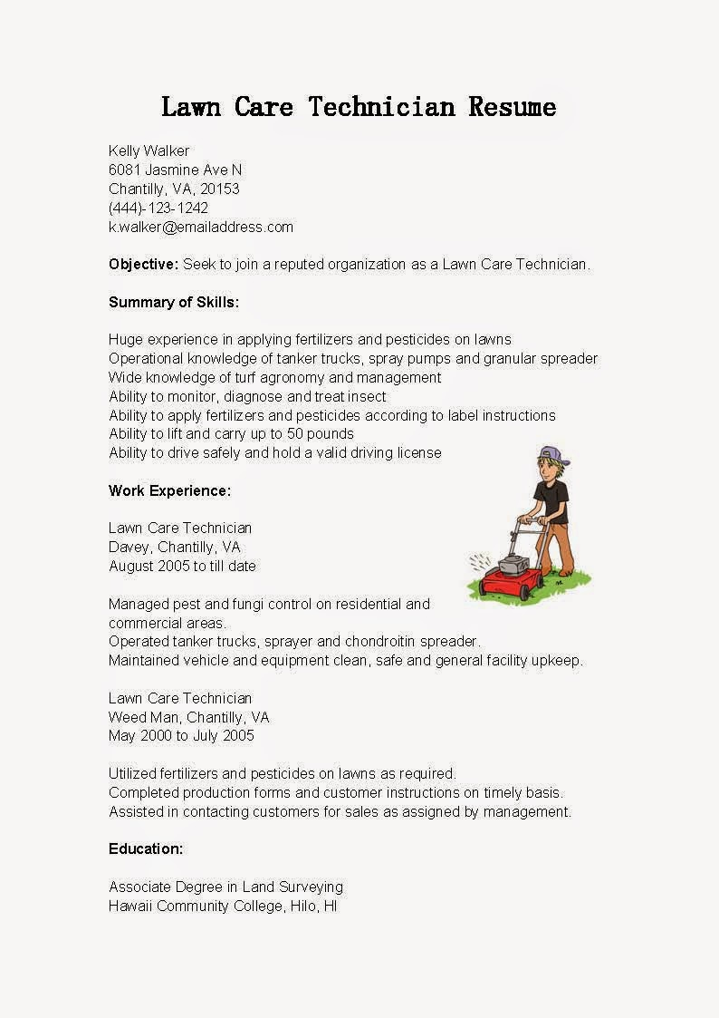 resume samples  lawn care technician resume sample