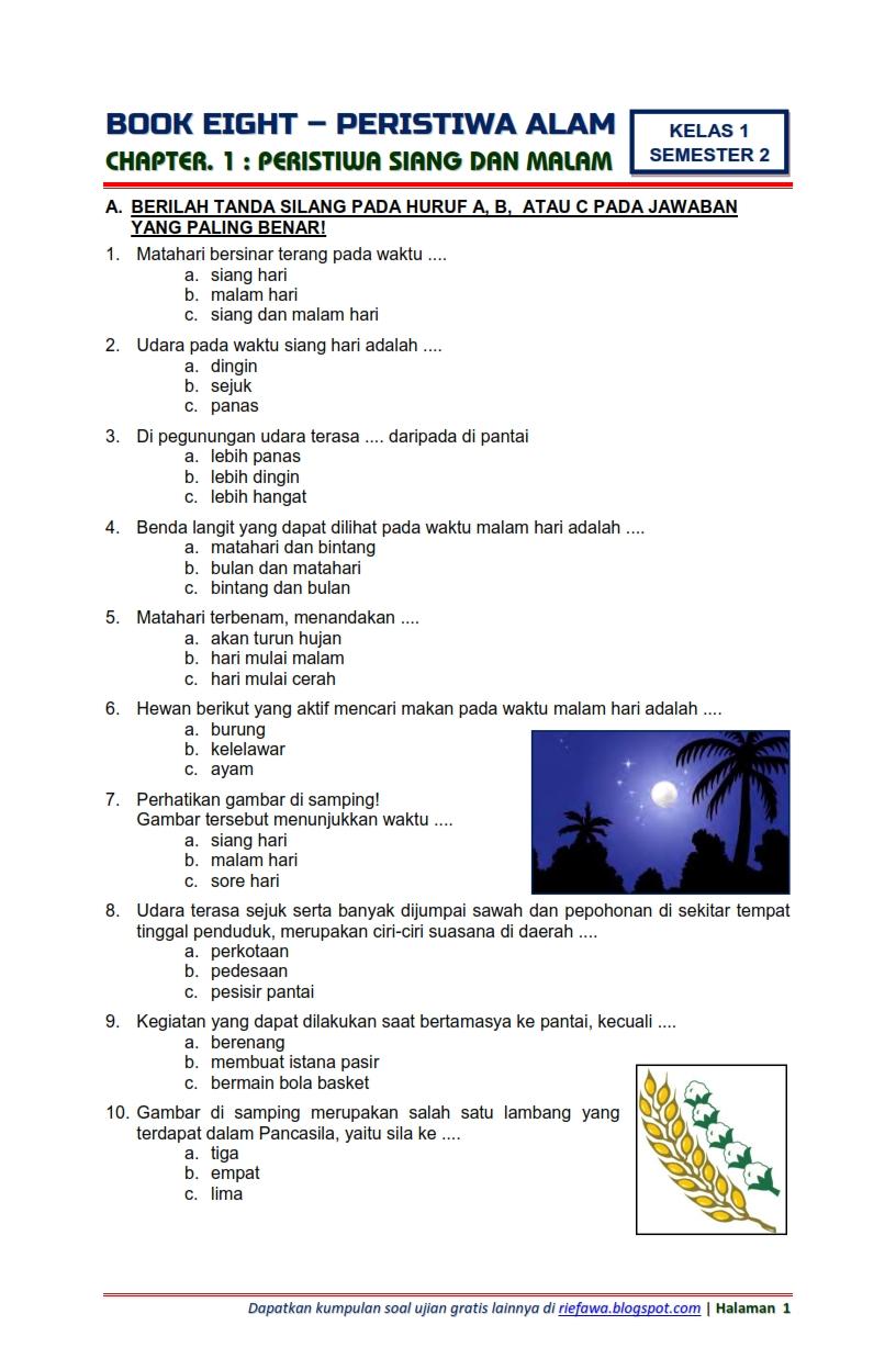 Soal Tematik Kelas 1 Tema 8 : tematik, kelas, Download, Tematik, Kelas, Semester, Subtema, Peristiwa, Siang, Malam, Edisi, Terbaru