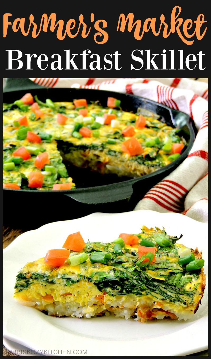 Farmer's Market Breakfast Skillet is a delicious, one pan, healthy breakfast that the whole family will love from www.bobbiskozykitchen