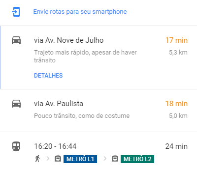 Google Maps - detalhes do trajeto