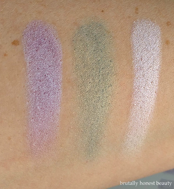 Swatches of L'Oréal Moon Kissed, Maybelline Color Tattoo in Seashore Frosts, and Ulta Holographic Highlighter in Fairy