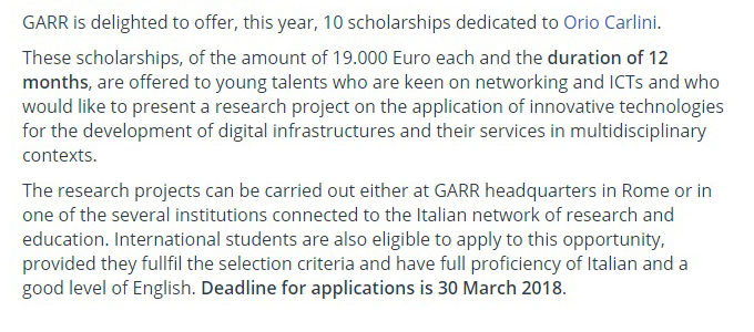 10 GARR Master's Degree Scholarships for International Students in Italy