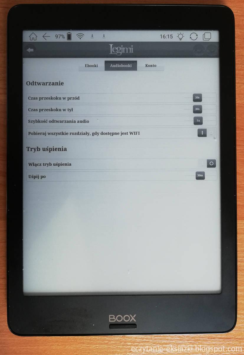Ustawienia audiobooków w aplikacji Legimi na Onyx Boox Nova