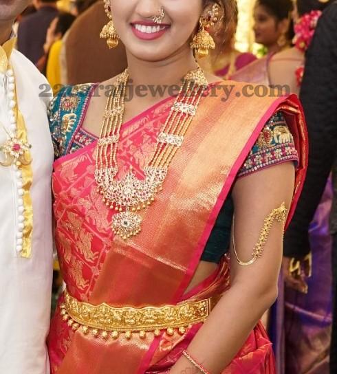 cute lady in gold balls patakam haram jewellery designs