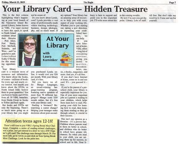 at your library  in the north island eagle: your library card: hidden treasure