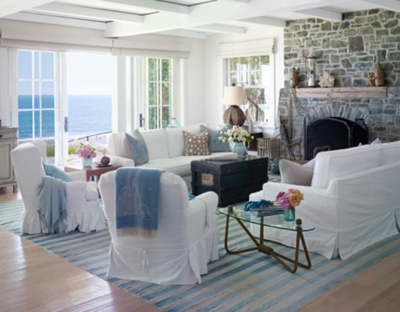coastal cottage, living room, white slipcover sofa