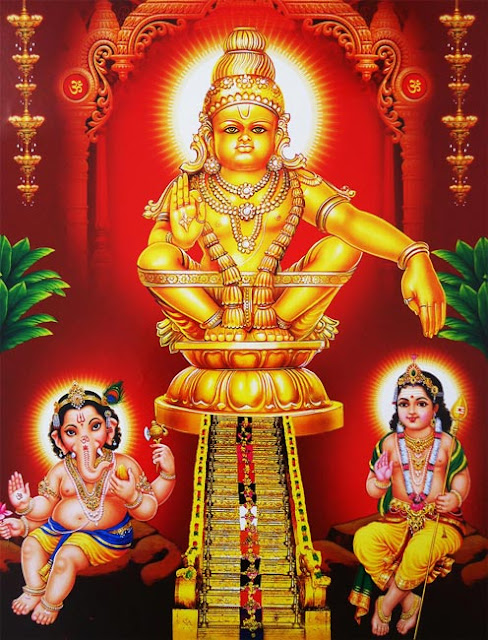Lord Ayyappa with his Brothers - Lord Ganesha and Lord Subramnyam