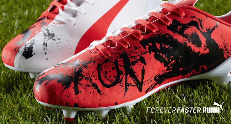 The new unique Puma evoSPEED Kun Agüero 2015 Football Boots honor Sergio  Agüero s first club Independiente with a red and white color combination. 4bd7135cb27e