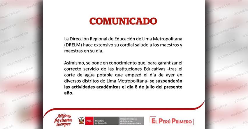 COMUNICADO DRELM: Suspenden clases el Lunes 8 de Julio en todas las UGEL de Lima Metropolitana - www.drelm.gob.pe