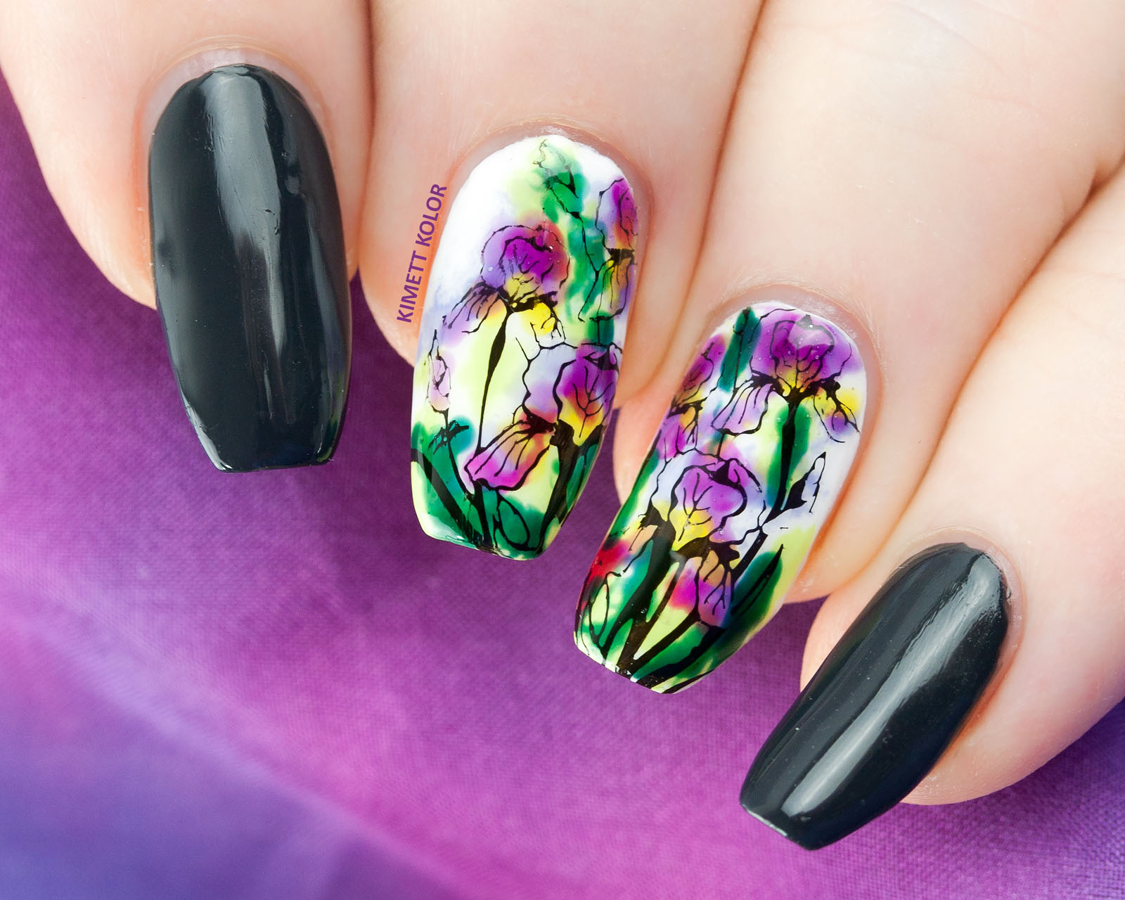 Kimett Kolor watercolor iris nail art
