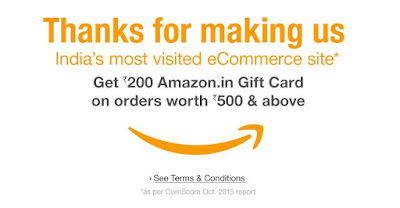 Get Free Rs.200 Amazon Gift Card on Purchase of Rs.500