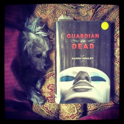 Murchie flops on his side beneath the overhang of a red tapestry comforter so only his face and front paws poke out. Beside him is Guardian of the Dead. Its cover features a stark white mask, photographed from below, against a dark background.