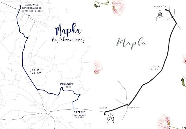 Mapka dojazdu z miejsca ślubu na miejsce wesela. Papeteria ślubna - Broda Zaprasza.