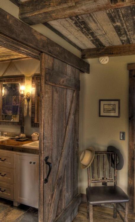 Rustic Sliding Barn Door On Bathroom Content In A Cottage