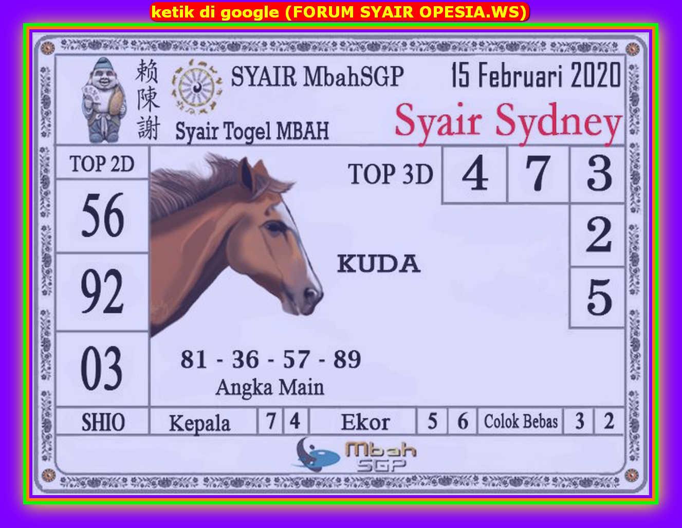 Kode syair Sydney Sabtu 15 Februari 2020 84