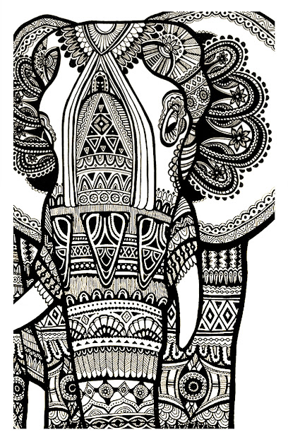 Free Coloring Page Coloringelephantteprintforfree Magnificien  Elephant Drawn With Zentangle Patterns From Coloring Pages For Adults