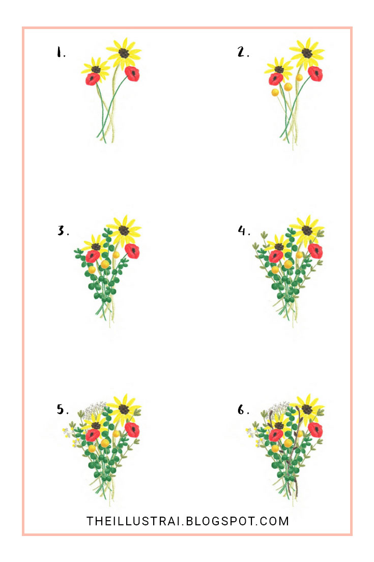 How to Draw an Autumn Flower Bouquet - The Illustrai