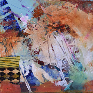 abstract rust and turquoise square painting