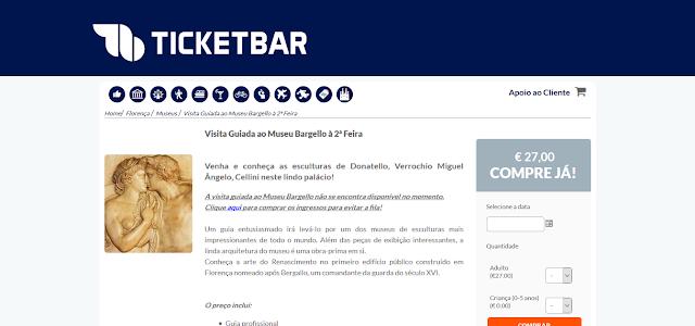 Ticketbar para a visita guiada ao Museu Bargello em Florença