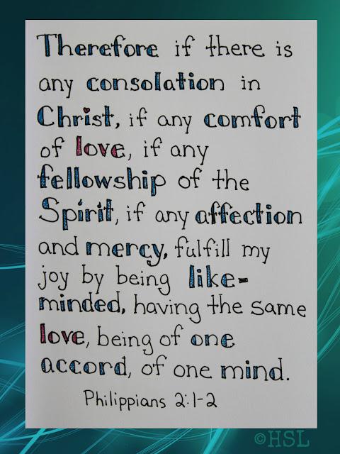 Scripture Writing, Philippians 2:1-2, Christian thinking