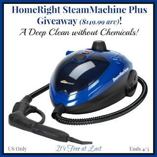 Enter the HomeRight SteamMachine Plus Giveaway. Ends 4/3