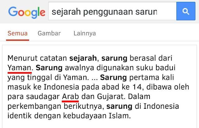 Nah lho! Kata Wikipedia, Ternyata Sarung Bukan Budaya Nusantara, tapi Arab