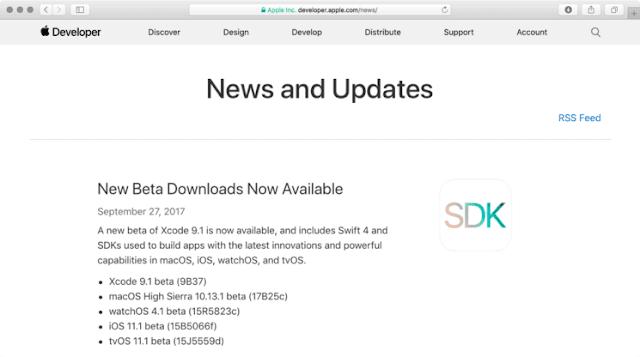 iOS 11.1, macOS 10.13.1, watchOS 4.1, tvOS 11.1 تحميل روابط بيتا