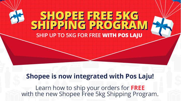 Program penghantaran percuma Shopee Poslaju untuk penjual di Shopee