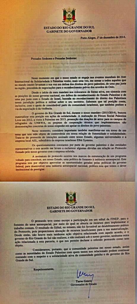 Governador Tarso Genro cancela acordo com empresa de Israel