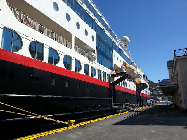 Hurtigruten cruise ship MS Midnatsol docked in Bergen, Norway