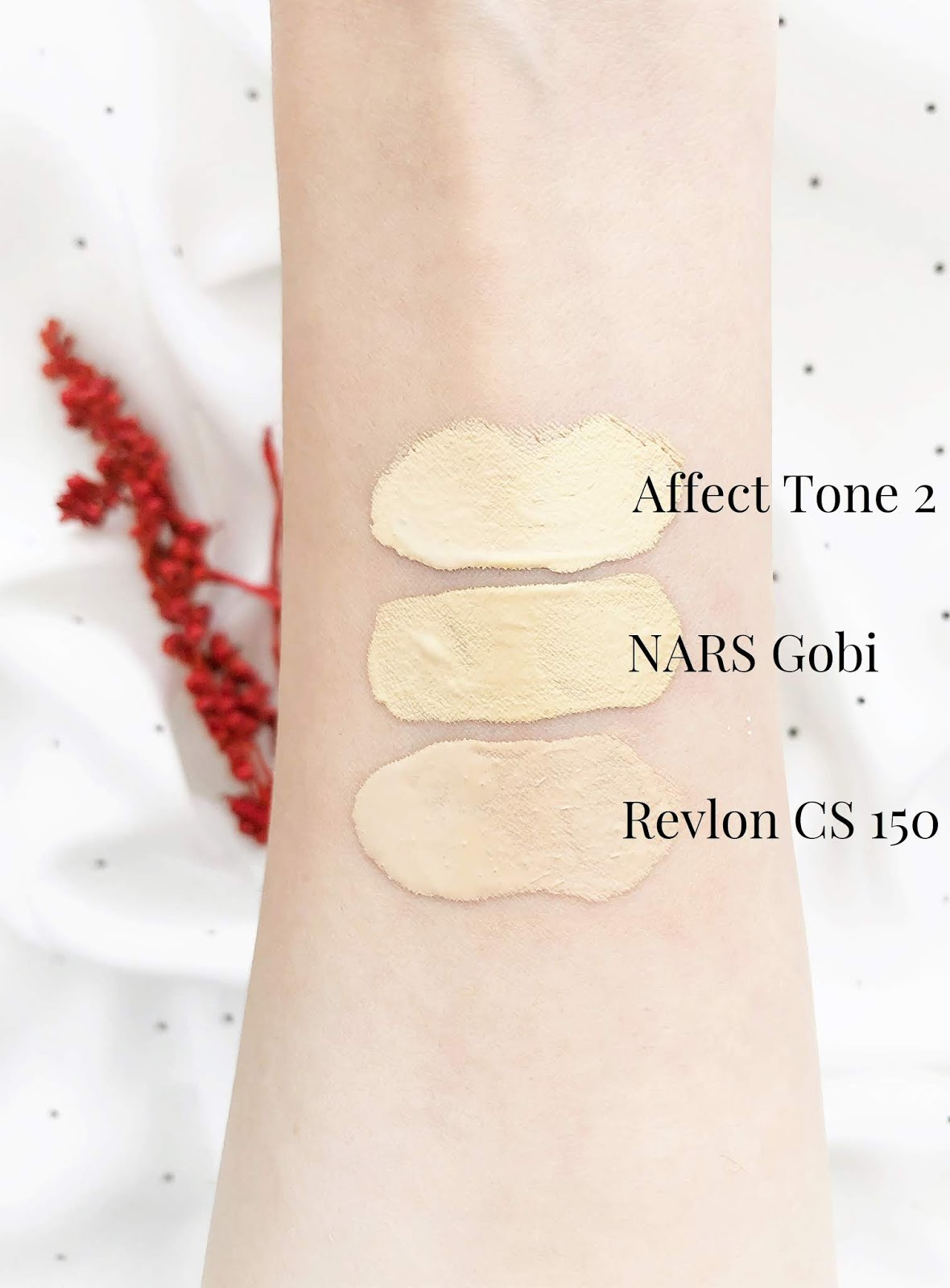 zolty-podklad-NARS-Natural-Radiant-Longwear-swatches
