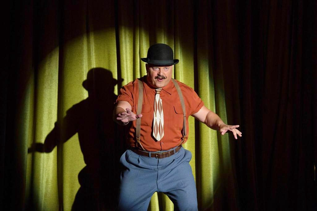 Michael Chiklis as Dell Toledo the strongman of the Freak Show in American Horror Story Freak Show Season 4 Episode 2 Massacres and Matinees