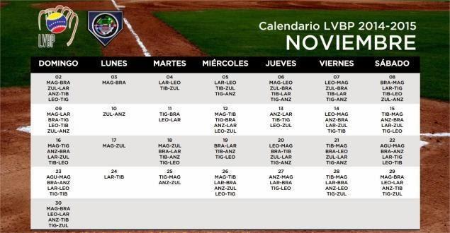 Calendario de Beisbol Profesional Venezolano LVBP 2014 - 2015 Noviembre