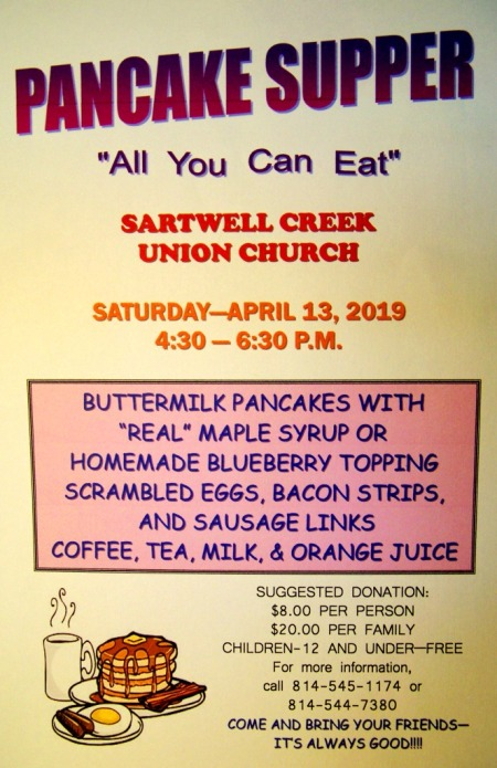 4-13 Pancake Supper, Sartwell Creek