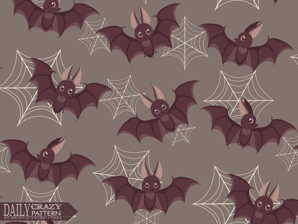 "Art print with cute bats for ''Daily Crazy Pattern"" project"
