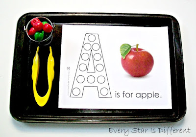 A is for apple tweezing activity with free printable.