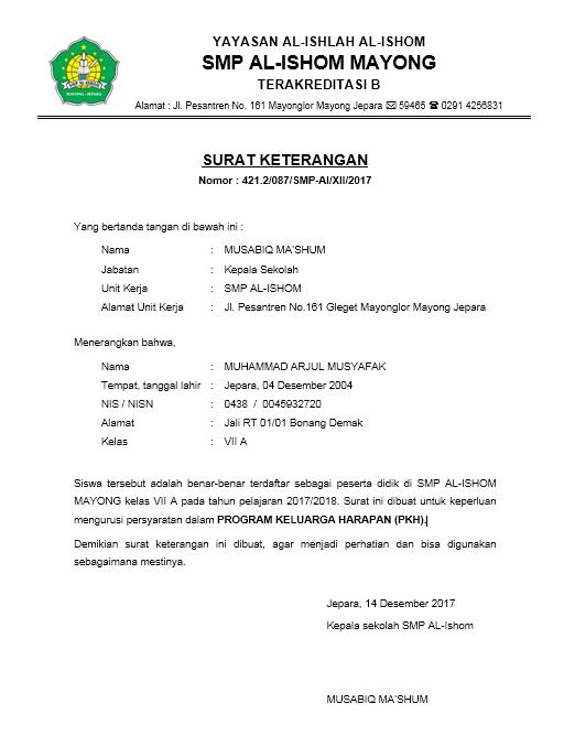 Contoh Surat Keterangan Pkh
