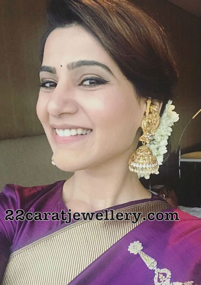 Samantha Akkineni Heavy Antique Jhumkas