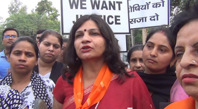 Sandal March about gang rape of 7 year old girl in Mandsaur, Madhya Pradesh in Faridabad