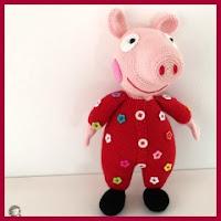 Peppa pig en pijama amigurumi