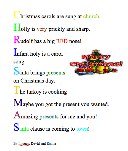 JD Howes Christmas Acrostic Poetry