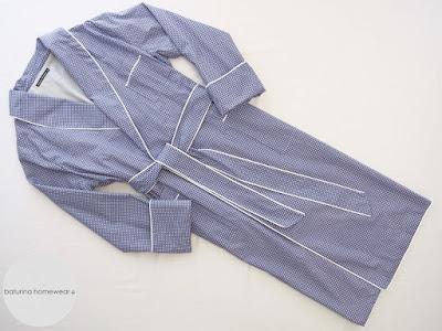 Herren Morgenmantel Baumwolle Luxus Hellblau Blau Weiß lang gefüttert elegant englisch.