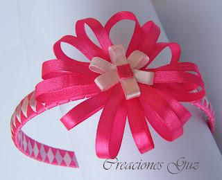 diadema base trenzada en tres tonos de rosa idela niñas y no tan niñas