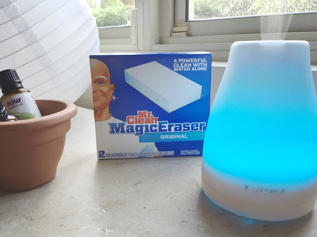 Cleaning a Rental Home with Mr. Clean Magic Eraser Oil DIffuser