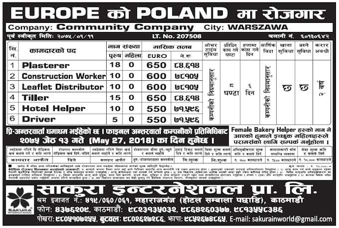 Jobs in Poland for Nepali, Salary Rs 84,614