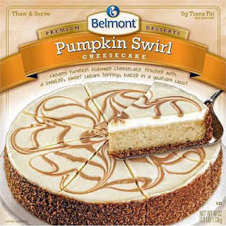 A stock image of Belmont Pumpkin Swirl Cheesecake, from Aldi