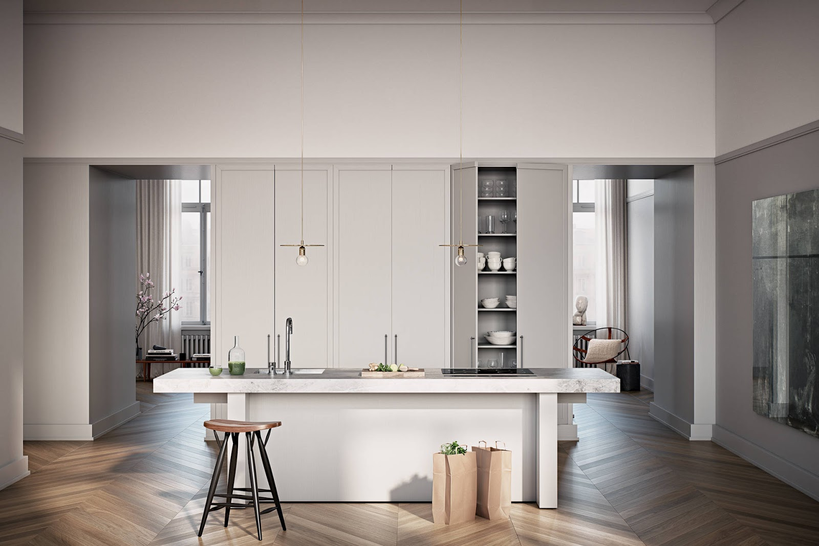 elegant minimalistic kitchen with marble tabletop