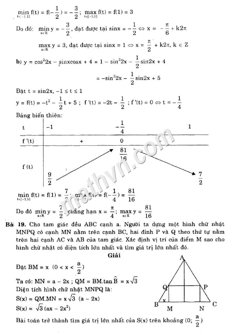 giải bài tập chương 1 sgk giải tích 12 nâng cao