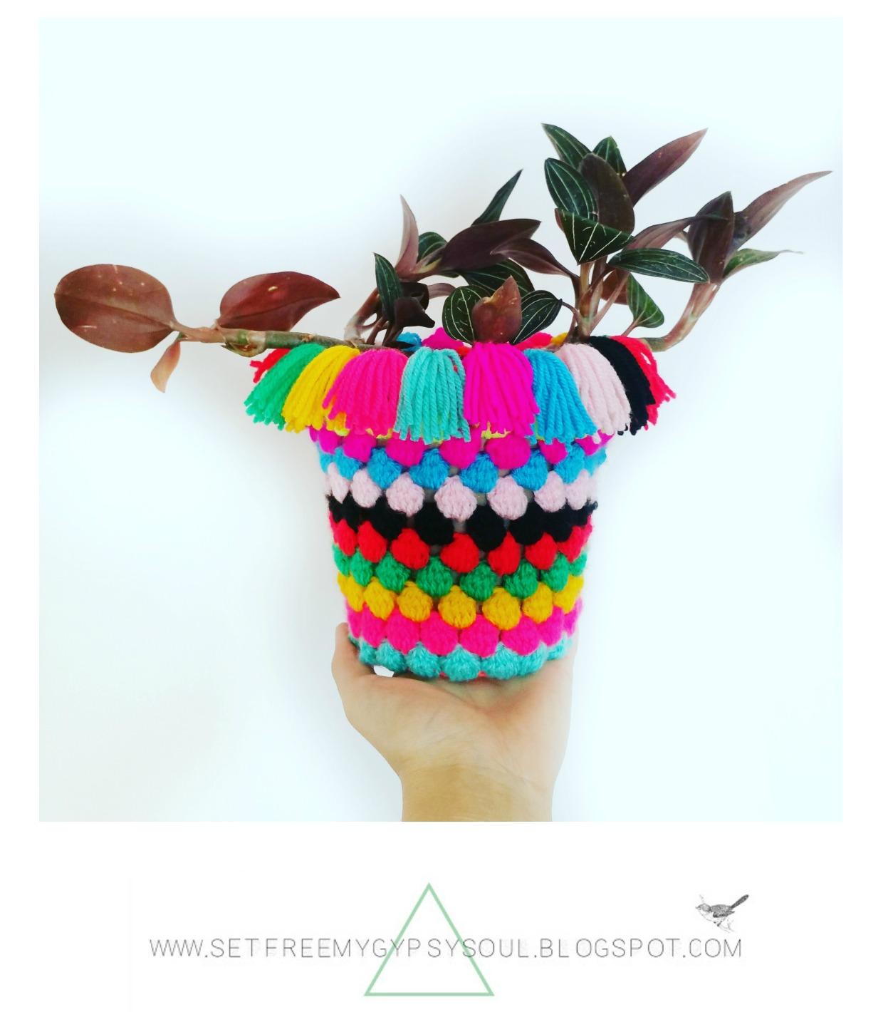 free crochet pattern bobble stitch popcorn plant pot bohemian home decor