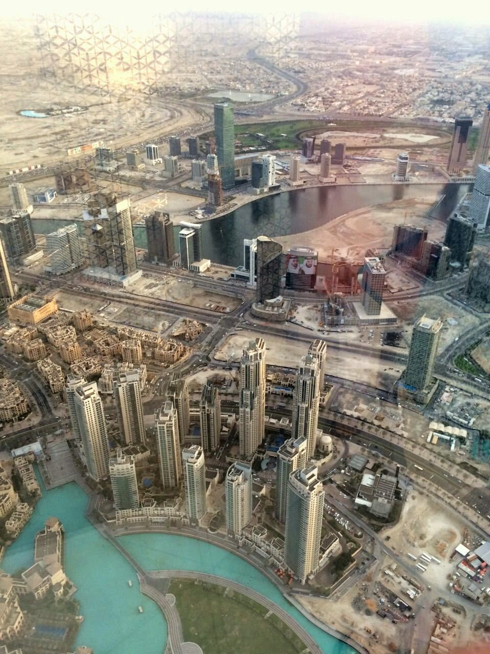 Looking out at Dubai from the 148th floor of the Burj Khalifa Tower.